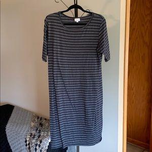Long straight black and grey dress
